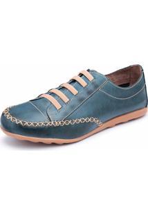 Tênis Casual Oxford Em Couro Dexshoes Azul