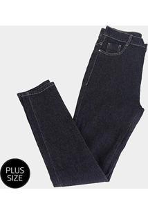 Calça Jeans Cigarrete Sawary Plus Size Feminina - Feminino-Azul