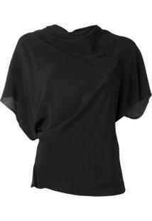 Rick Owens Blusa Assimétrica Com Detalhe Drapeado - Preto