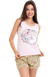 Pijama Short Doll Regata Verão Feminino Adulto Luna Cuore