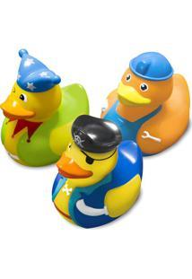 Jogo De Brinquedos Para Banho Patos - Amarelo & Azulcomtac