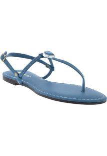 Sandália Rasteira Liberte Com Aplicações Azul Azul