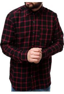 Camisa Manga Longa Masculina Vinho/Preto