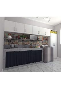 Cozinha E Lavanderia Integrada Com 8 Portas E 3 Peças Nice Siena Móveis Branco