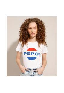 Camiseta De Algodão Pepsi Manga Curta Decote Redondo Off White
