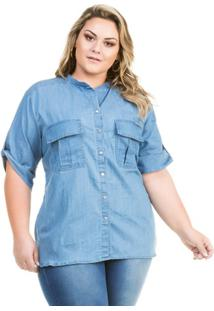 026e3cb9e0 ... Camisa Confidencial Extra Plus Size Jeans Básica Manga Curta Feminina -  Feminino-Azul Claro