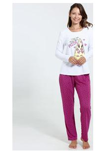 Pijama Feminino Manga Longa Estampado Marisa
