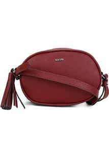 Bolsa Anacapri Mini Bag Oval Barbicachos Feminina - Feminino-Vermelho Escuro