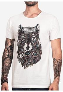 Camiseta Hermoso Compadre Ethnic Wolf Masculina - Masculino-Off White