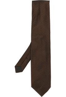 Tom Ford Gravata Com Estampa Geométrica - Marrom