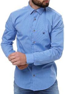 Camisa Elétron Manga Longa Masculina - Masculino-Azul