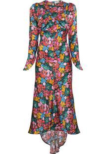 Attico Vestido Midi Floral Em Seda - Estampado