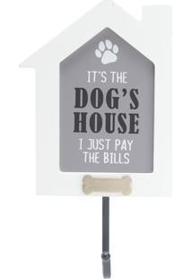 Quadro Placa De Madeira Gancho Dogs House Branco 15X4,5X23,5 Cm Urban