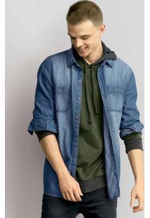 Camisa Jeans Masculina Slim Com Bolsos