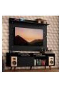 Rack Madesa Cancun Com Pés E Painel Para Tv Até 65 Polegadas - Preto/Preto 8Nd8