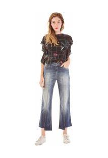 Calça Zinco Cropped Cós Alto Barra Assimétrica Jeans - 36