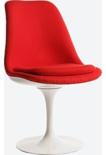 Cadeira Saarinen Revestida - Pintura Branca (Sem Braço) Couro Vermelho C