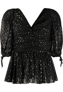 Frankie Morello Glittered V-Neck Blouse - Preto