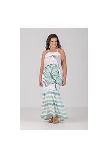 Vestido De Cortininha E Estampa Localizada - Plus Size Verde