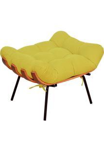 Puff Decorativo Sala De Estar Costela Suede Amarelo - Lyam Decor