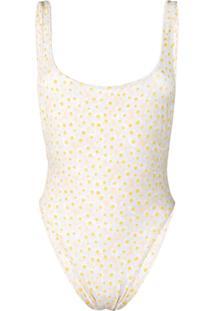 Sian Swimwear Maiô Com Estampa Daisy - Branco