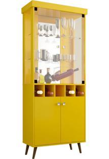 Cristaleira Monza Ii Amarelo Móveis Bechara