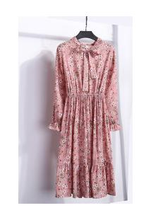 Vestido Madrid Vintage - Rosa Com Flores