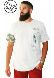 Camiseta Plus Size Gangster Long Line Camuflada Mescla