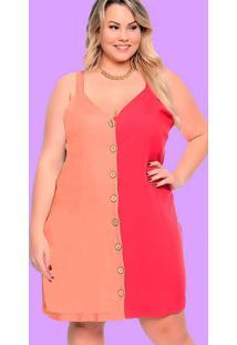 Vestido Almaria Plus Size Plump Curto Bicolor Verm