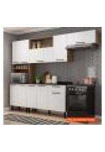Cozinha Compacta Acácia 7 Pt Castanho E Branca