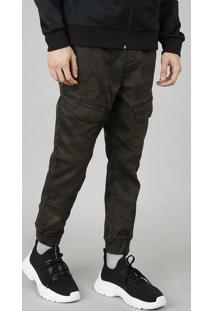 Calça Masculina Jogger Estampada Camuflada Com Bolsos Verde Militar