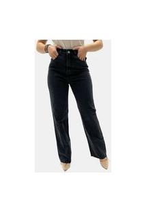 Calça Esmeralda Pantalona Jeans Preto Feminina