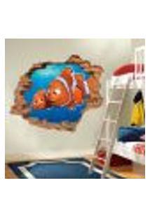 Adesivo De Parede Buraco Falso 3D Infantil Nemo - G 82X100Cm