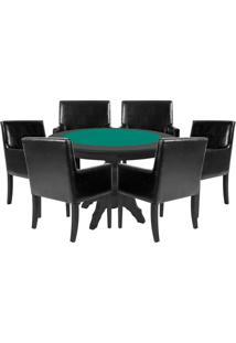 Mesa De Jogos Carteado Redonda Montreal Tampo Reversível Preto Com 6 Cadeiras Liverpool Corino Preto Liso - Gran Belo