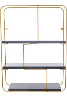 Estante Para Parede Retangular- Dourada & Preta- 60,Metaltru