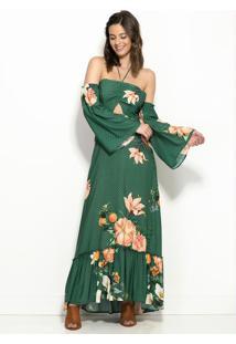 2ad6e3206 Posthaus. Vestido Longo Refresco Floral Verde