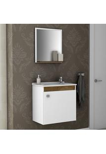 Conjunto Para Banheiro Siena Branco/Madeira Rústica - Móveis Bechara