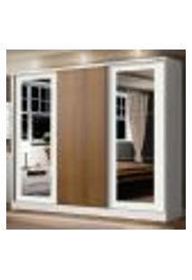 Guarda-Roupa Casal Madesa Eros 3 Portas De Correr Com Espelhos - Branco/Branco/Rustic