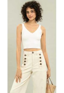 Calça Pantalona Cintura Alta Branco Off White - Lez A Lez