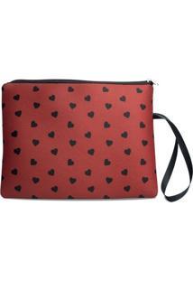 Necessaire Porta Biquíni Em Neoprene Tritengo - Mini Corações Red Zíper Preto - Feminino-Vermelho Escuro+Preto