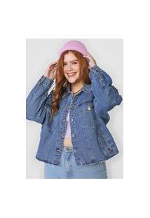 Jaqueta Jeans Forever 21 Plus Bolsos Azul