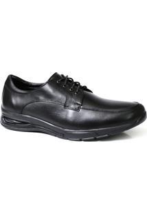Sapato Social Masculino Confort Solado Gel Couro - Masculino-Preto