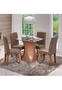 Conjunto De Mesa Andreia 100X100Cm Com 4 Cadeiras Milena - Cimol - Savana / Cacau