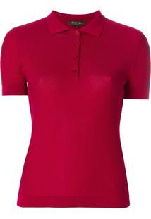 Loro Piana Camisa Polo De Seda Perfurada - Vermelho