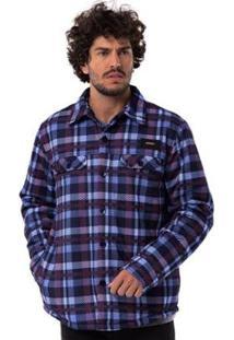 Camisa Mnaga Longa Long Island Xadrez Masculino - Masculino-Azul+Branco