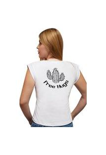 T-Shirt 100% Algodão Estampa Free Hugs Stefanello Cf01 Branca