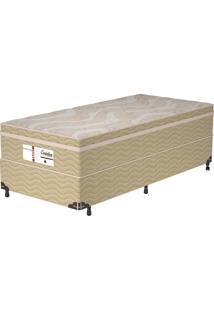 Cama Box Solteiro Evolution - Probel - Branco / Palha / Dourado