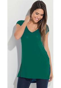 Blusa Mullet Quintess Com Fendas Verde