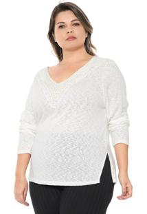 Blusa Secret Glam Plus Size Pérolas Off-White