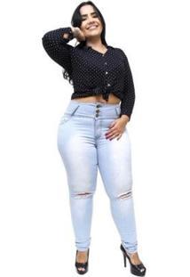 Calça Plus Size Thomix Jeans Tayara Feminina - Feminino-Azul Claro